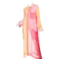 Issey Miyake Ombré Chiffon Shirt Dress