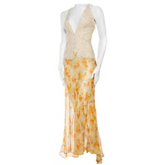 Backless Dress of Hand Made Victorian Silk Lace and 1930s Floral Chiffon