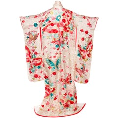 Vintage Kimono Embroidered with Butterflies and Flowers
