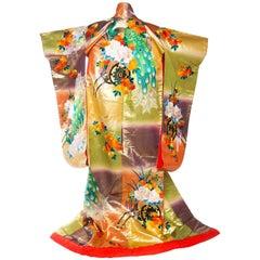 Metallic Gold Peacock Japanese Kimono