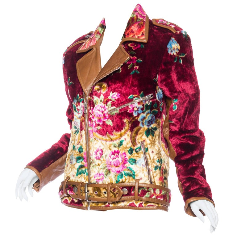 Mia Vesper Italian Tapestry and Leather Motorcycle Jacket 1