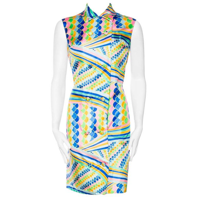 1960s Mod Op-Art Malcolm Starr Silk Dress