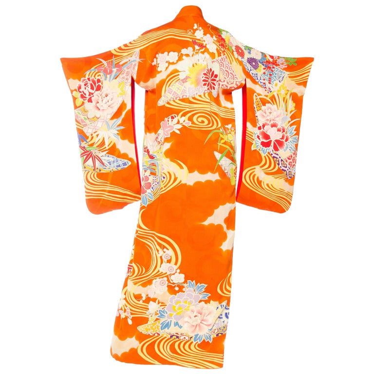 Japanese Hand Painted and Embroidered Kimono