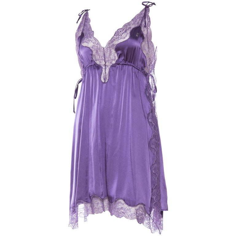 John Galliano  Satin and Lace Slip Dress