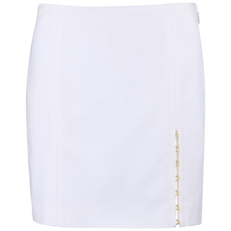 VERSACE S/S 2011 White Stretch Cotton Gold Hook Slit Detail Mini Skirt NWT