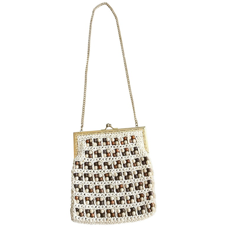 1970s Italian Ivory + Brown Hand Crochet Gold Chain Boho Vintage Shoulder Bag  For Sale