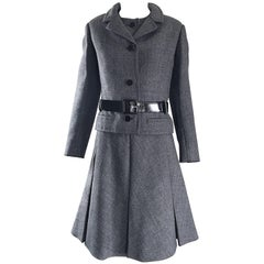 Nina Ricci Haute Couture Vintage Grey Wool Dress and Jacket Ensemble, 1960s