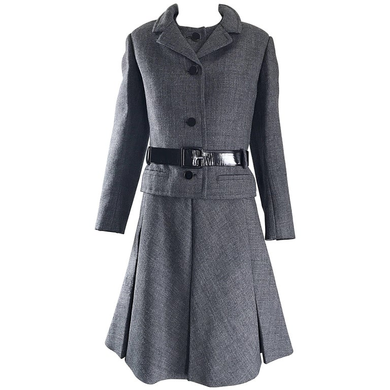 Nina Ricci Haute Couture Vintage Grey Wool Dress and Jacket Ensemble, 1960s   For Sale