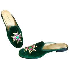 1990s Stubs & Wootton Size 8 Emerald Green Velvet Crest Flat Slides 90s Mules