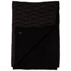 Saint Laurent New Black Brown Cashmere Men's Wool Couch Chair Throw Blanket