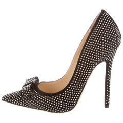Jimmy Choo New Black Suede Silver Stud Evening High Heels Pumps in Box