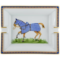 Hermes White Blue Horse Gold Equestrian Men's Table Desk Trinket Ashtray Tray
