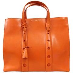 2000s Myriam Schaeffer Orange Leather Tote Bag