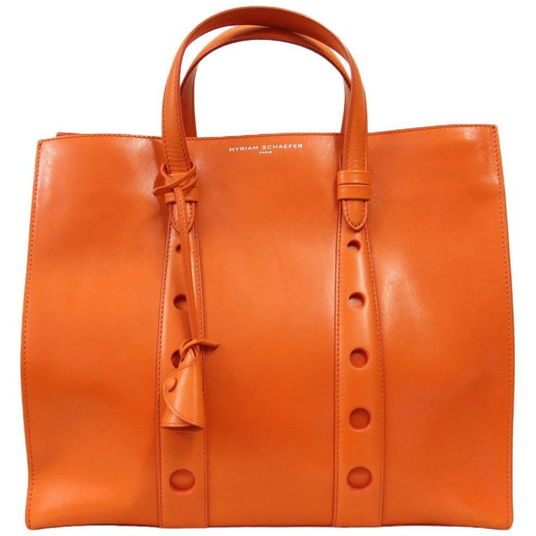 2000s Myriam Schaeffer Orange Leather Tote Bag