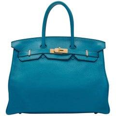 Hermes Blue Izmir Clemence 35cm Birkin Bag