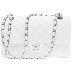 CHANEL 'Timeless' Double Flap Bag in Quilted White Lamb Leather