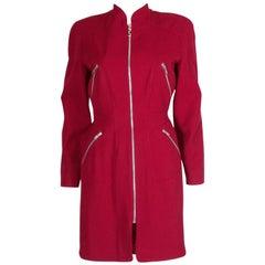 Mugler Aubergine Zip Up Dress