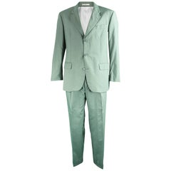 Jasper Conran Mainline Vintage Men's Green Wool & Silk Pant Suit, 1990s