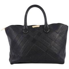 Burberry Dewsbury Convertible Tote Embossed Check Leather Medium