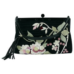 Gucci by Tom Ford Rare Embroidered Japanese Flower Style Silk Handbag