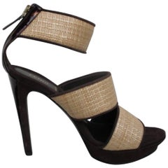 fendi Brown suede leather and wicker high heels