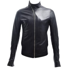 Rick Owens Black Leather Diagonal Zip Jacket with Asymmetric Collar