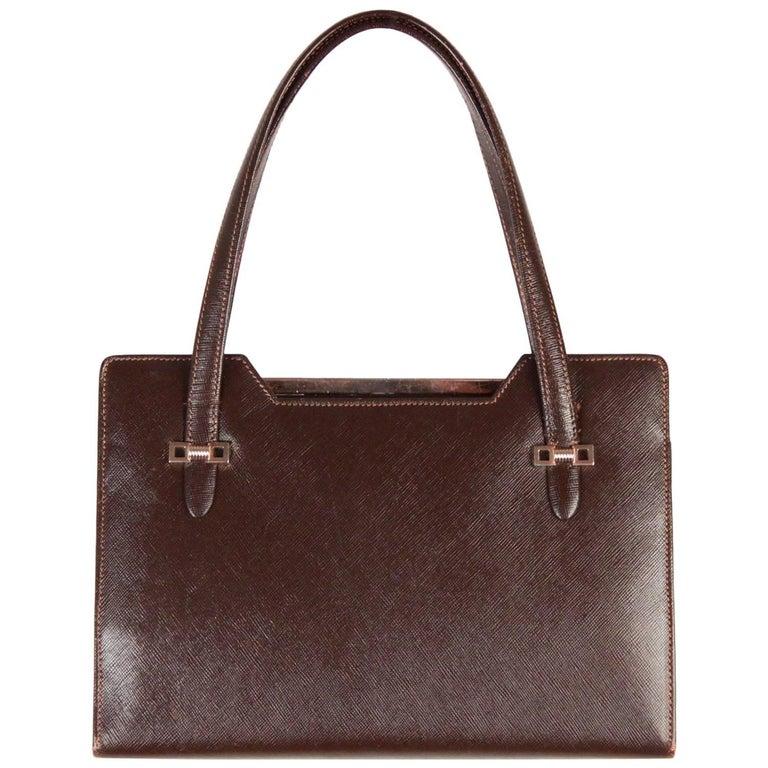 Gucci Vintage Brown Leather Handbag Top Handles Bag