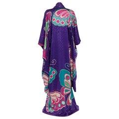 Hanae Mori Couture Att Vintage Purple Silk Butterfly Kimono, 1970s