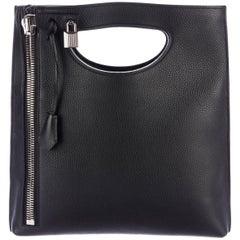 Tom Ford Black Leather Silver Lock 2 in 1 Evening Clutch Crossbody Shoulder Bag