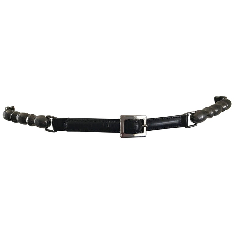 John Galliano for Christian Dior Black + Gunmetal Late 1990s Skinny Vintage Belt