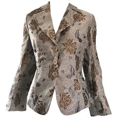Beautiful Vintage Giorgio Armani Collezioni Size 12 Grey + Taupe Silk 90s Jacket