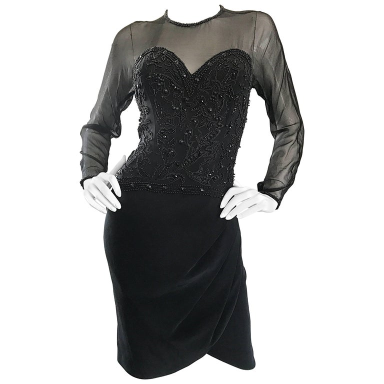 1990s Sexy Black Beaded Sequin Nude Illusion Size 6 Vintage 90s Bodycon Dress