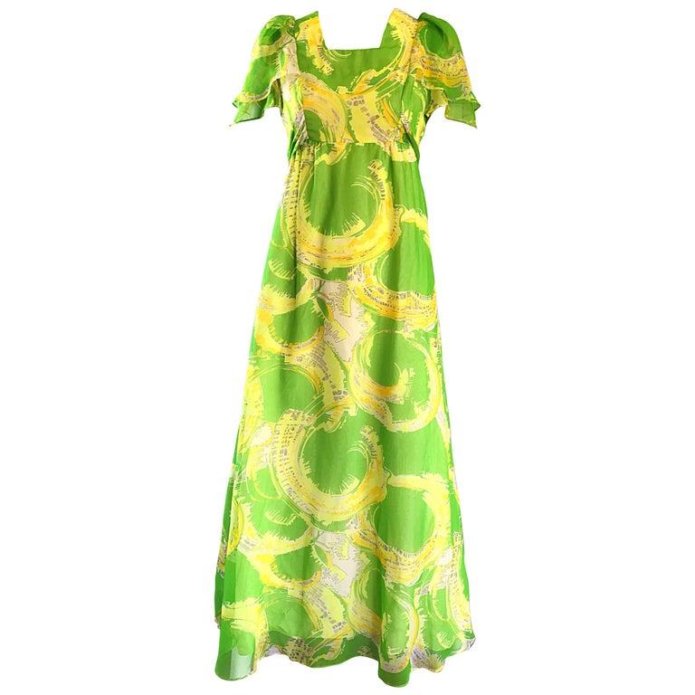 1970s Neon Lime Green + Yellow Paint Splatter Vintage 70s Chiffon Maxi Dress