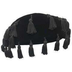1950s Neiman Marcus Black Velvet Tassels Vintage 50s Half Hat Fascinator