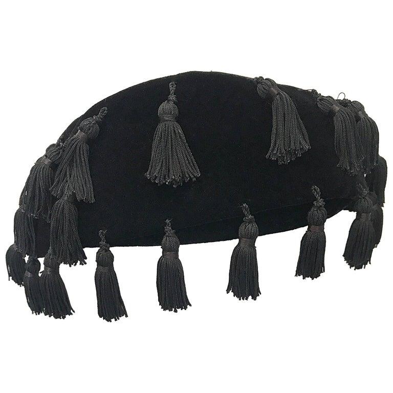 1950s Neiman Marcus Black Velvet Tassels Vintage 50s Half Hat Fascinator  For Sale b5b4e81ea29