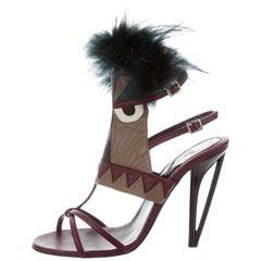 Fendi New Runway Maroon Leather Fox Fur Bug Evening Sandals Heels in Box