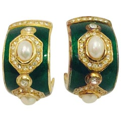 Vintage Christian Dior Exquisite Enamel Pearl and Crystal Earrings