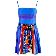 Valentino Blue and Multi Print Dress with Pockets - 42