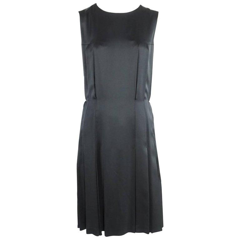 Chanel Black Silk Pleated Dress - 40 -Circa 2001