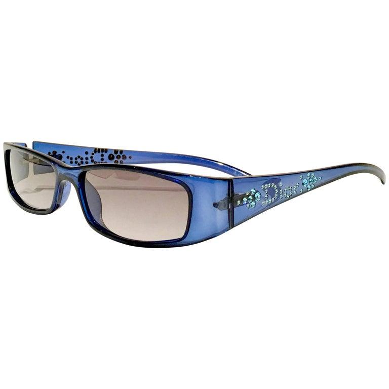 """VIntage Christian Dior Blue """"Light"""" Swarofski Crystal Adorned Sunglasses"""