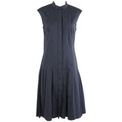Oscar de la Renta Navy Cotton Sleeveless Pleated Dress - 8