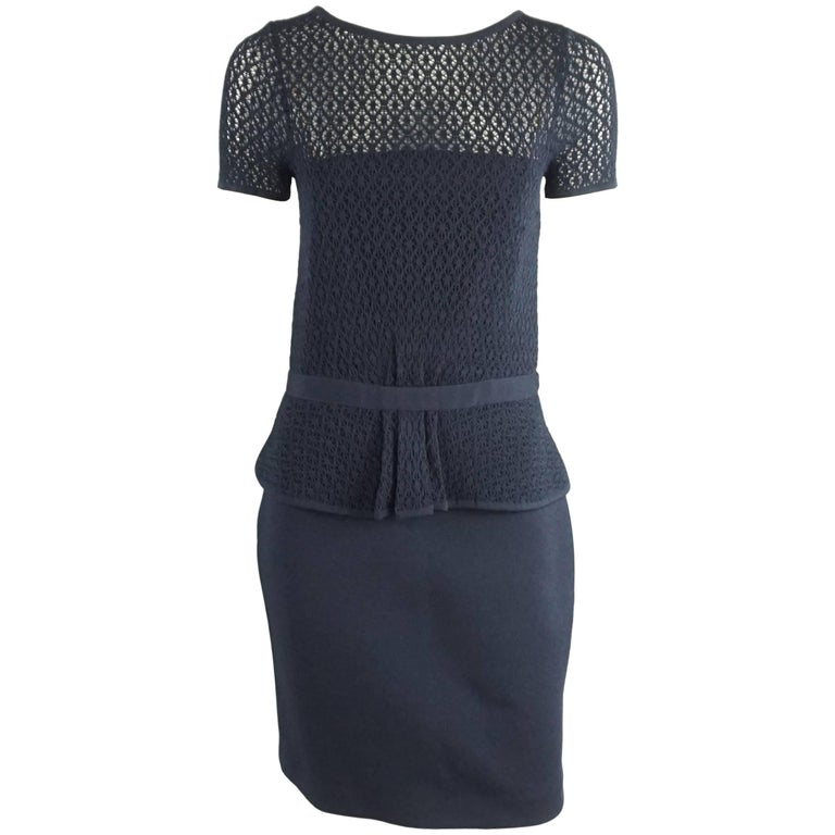 Oscar de la Renta Navy Knit Short Sleeve Dress - L 1