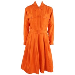 Ralph Lauren Purple Label Orange Long Sleeve Silk Dress - 8