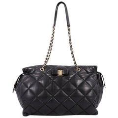 Salvatore Ferragamo Ginette Chain Shoulder Bag Quilted Leather Large