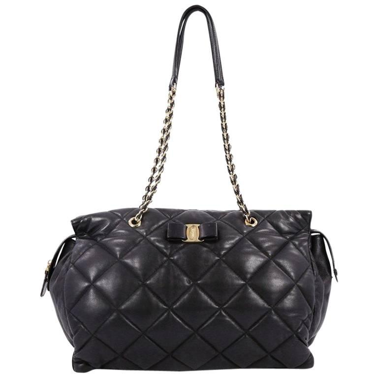 5752056b48 Salvatore Ferragamo Ginette Chain Shoulder Bag Quilted Leather Large For  Sale