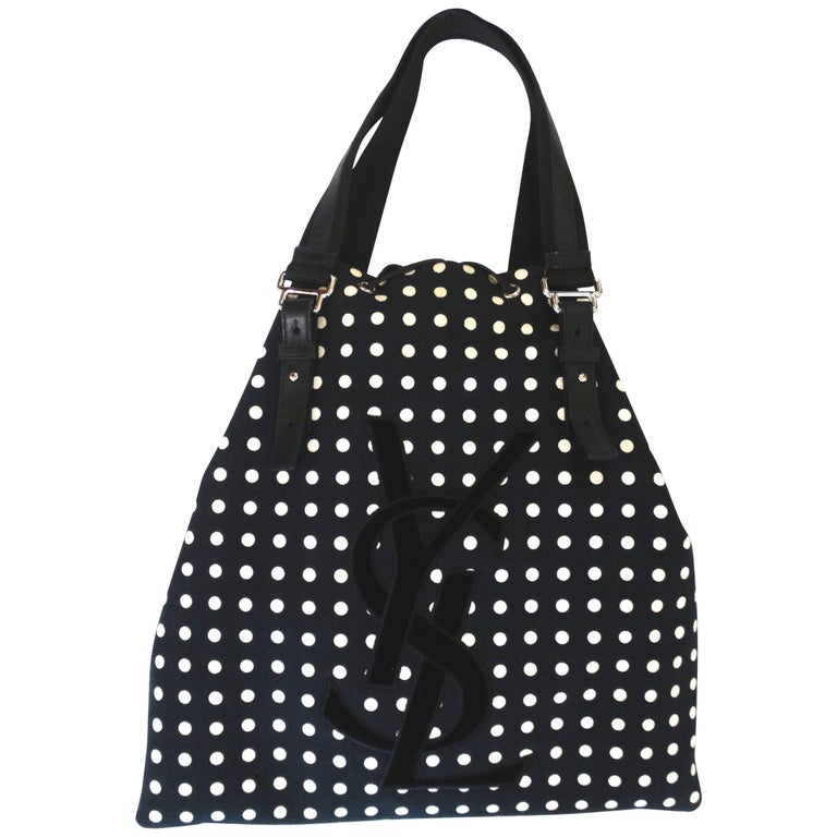 1d13a0553 1990s Yves Saint Laurent Signature Polkadot Drawstring Tote For Sale. Black  and white polkadot printed canvas ...
