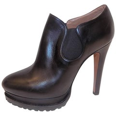 Alaïa Black Leather Platform Booties