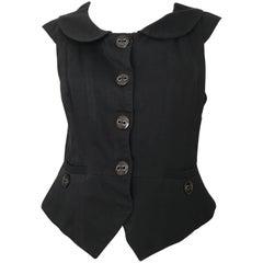 Marc Jacobs Black Snap Button Cotton Vest Size 6.