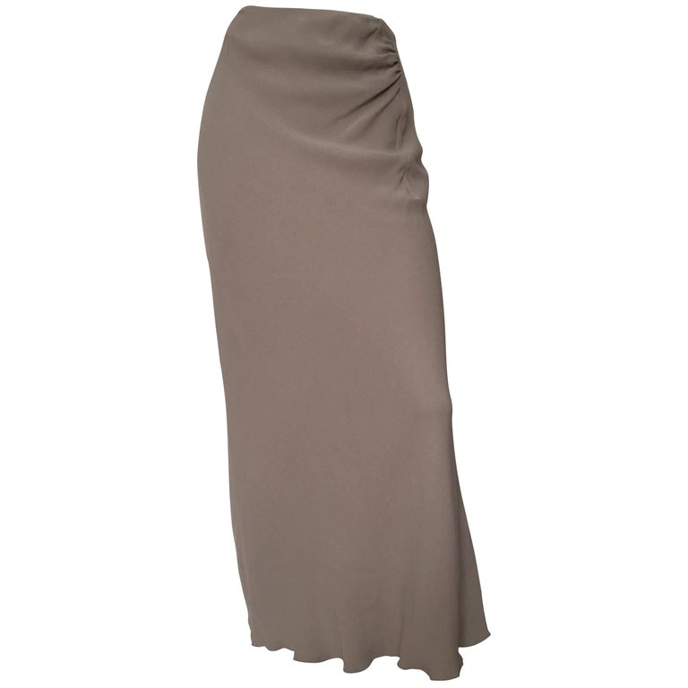 Guy Laroche Grey Silk Long Skirt Size 12. Never Worn. For ...