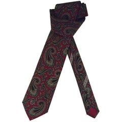Clearly Chanel Multicolored Paisley Silk Tie on Burgundy Background